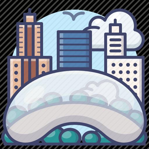 chicago, cloud, gate, landmark icon