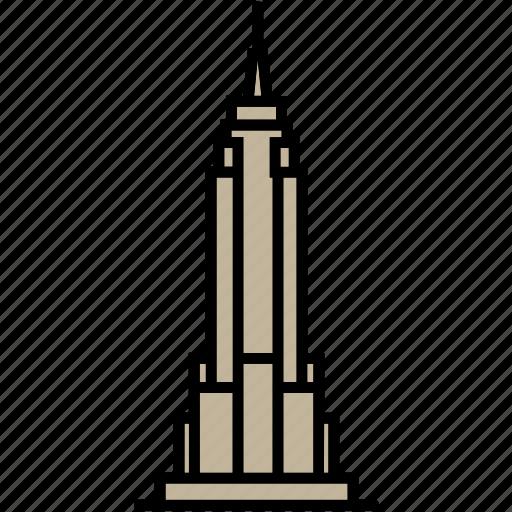 building, empire, manhattan, skyscraper, state, usa icon