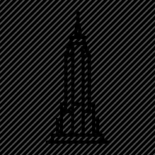 building, empire, manhattan, new york, skyscraper, state, usa icon