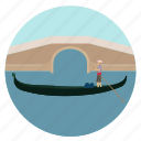 boat, bridge, gondola, gondolier, venice icon