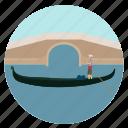 bridge, venice, gondolier, boat, gondola, sail