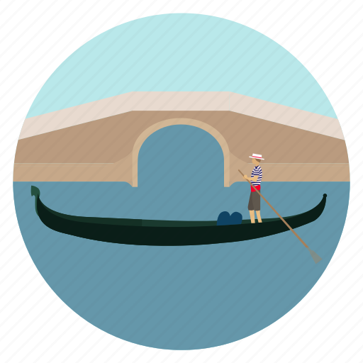 boat, bridge, gondola, gondolier, venice icon