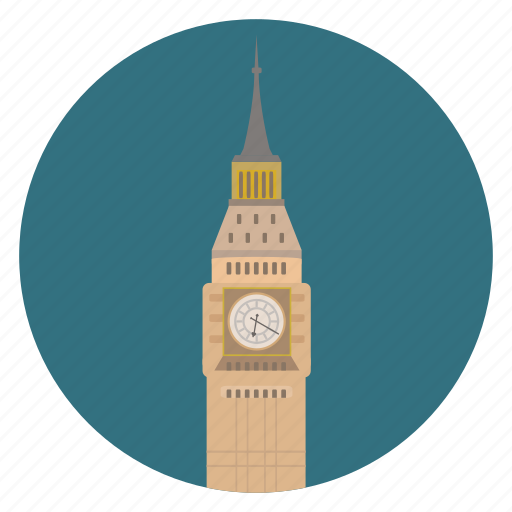 big ben, britain, circle, england, london, monument, uk, world monuments icon