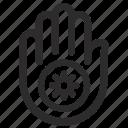 ahimsa, dharma, dharmachakra, hand, india, jain, jainism icon