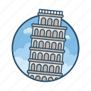 famous building, gravity, landmark, learning, learning tower of pisa, pisa, tower icon