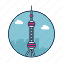 antenna, famous building, landmark, oriental, pearl, shanghai, tv tower icon