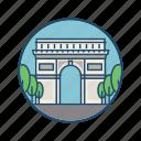 europe, famous building, france, gate, landmark, paris, triumphal arch