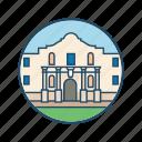 famous building, landmark, monument, san antonio, the alamo, the alamo mission icon