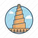 abbasid, caliph al-mutawakkil, famous building, historical, landmark, minaret of samarra iraq, mosque icon