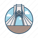 azadi square tehran, elborz, famous building, iran, islamic, landmark, tower icon