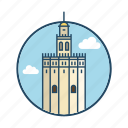 andalusia, europe, famous building, landmark, moorish, seville, spain icon