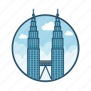 engraved, famous building, kuala lumpur, landmark, malaysia, tower, twin icon
