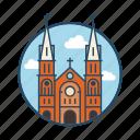 basilica, chalk, church, famous building, landmark, notre dame cathedral vietnam, saigon icon
