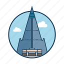 city, famous building, hotel, landmark, north korea, ryugyong hotel pyongyong, tower icon