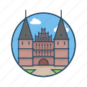 europe, famous building, germany, hanseatic, holstentor, landmark, luebeck icon