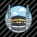 famous building, hajj, kabah, landmark, makkah saudi arabia, mecca, mosque icon