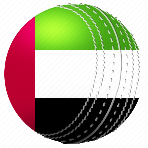 ball, competition, cricket, flag, match, sports, uae icon