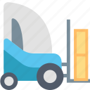 forklift, delivery, package, shipping, stacker, storing, transportation icon