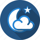 cloud, forecast, moon, night, star icon