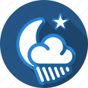 cloud, moon, night, rain, star icon