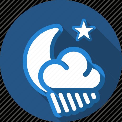 cloud, moon, night, rain, star icon
