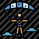 gliding, parachute, parachutist, paragliding icon