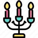 candles, candlestick, decoration, illumination, light icon