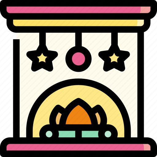 fire, fireplace, furniture, warm, winter icon