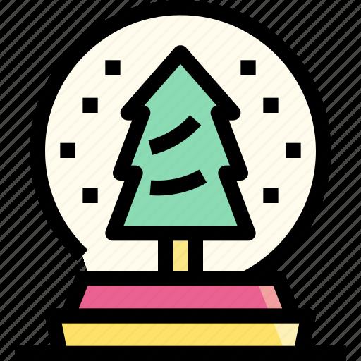 decoration, globe, ornament, snow, tree, winter icon