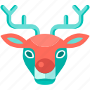 reindeer, christmas, rudolph, holiday icon