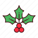 berry, christmas, fruit, holly, mistletoe, xmas icon