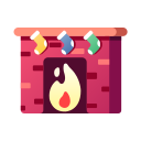 christmas, fire, fireplace, warm, winter, xmas icon