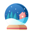 christmas, collection, decoration, snow globe, snowball, xmas icon