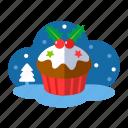 bakery, christmas, christmas cupcake, cupcake, muffin, xmas icon