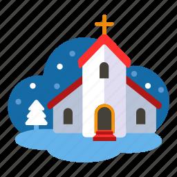 christmas, church, new year, prayer, winter, xmas icon