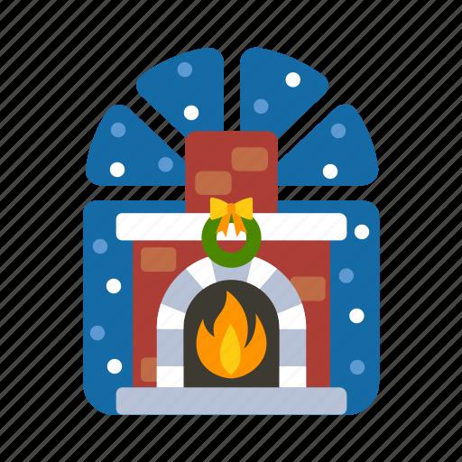 christmas, fire, fireplace, warm, winter, xmas icon