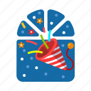 christmas, paper, paper flap, paper popper, party, popper, xmas icon