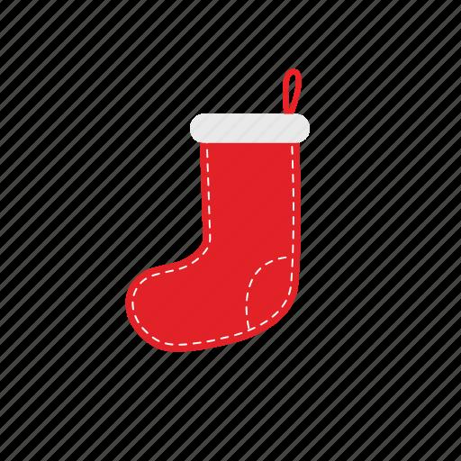 christmas sock, red sock, sock, xmas icon