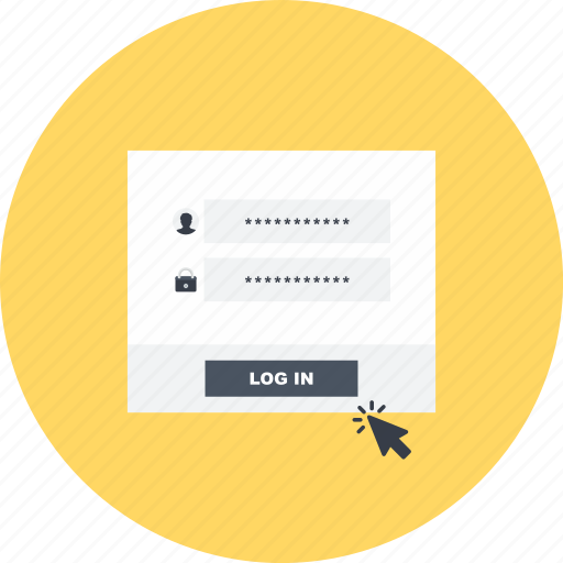 account, click, form, log, log in, network, switch user icon