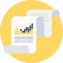 analitycs, chart, data analytics, list, paper, pie graphic, presentation icon