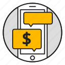 chat, messenger, mobile, money, phone, transaction icon