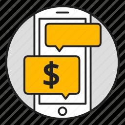 chat, messenger, mobile, money, phone, transaction icon