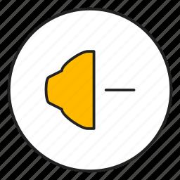audio, minus, music, speaker icon