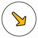 arrow bottom, arrow right, bottom, right icon