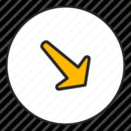 arrow bottom, arrow right, bottom, right icon