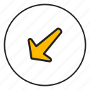 arrow bottom, arrow left, bottom, left icon