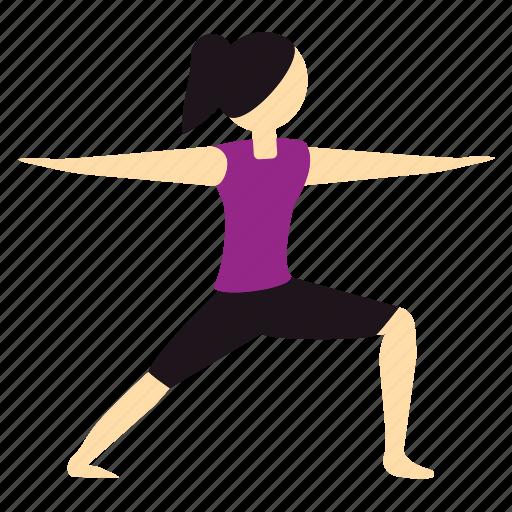 balance, meditation, pose, warrior, yoga icon