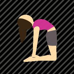 camel, meditation, pose, ustrasana, yoga icon
