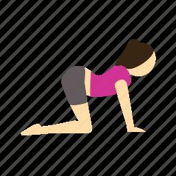 cat, marjariasana, meditation, pose, yoga icon