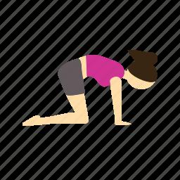 bend, cat, marjariasana, meditation, pose, yoga icon